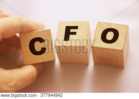 Cfo Chief Financial Officer On Wooden Cubes. Leadership Business Concept.