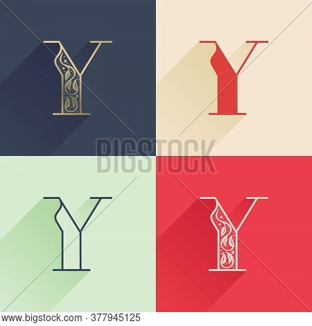 Classic Y Letter Logo With Premium Decoration. Four Style Serif Font Set. Vector Icon Perfect To Use