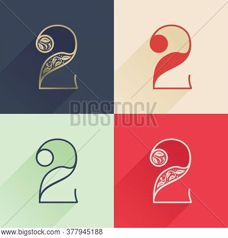 Classic Number Two Logo With Premium Decoration. Four Style Serif Font Set. Vector Icon Perfect To U