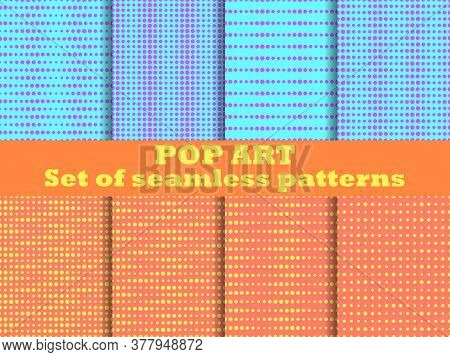 Dotted, Pop Art Seamless Pattern Set. 1960S Pop Art Background For Promotional Items, Wrapping Paper