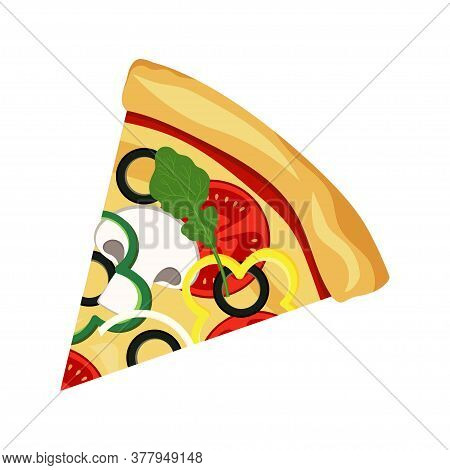 Fast Food Pizza Slice Icon, Delivery Toppings Isolated On White Background, Colorful Vector Pizza Il
