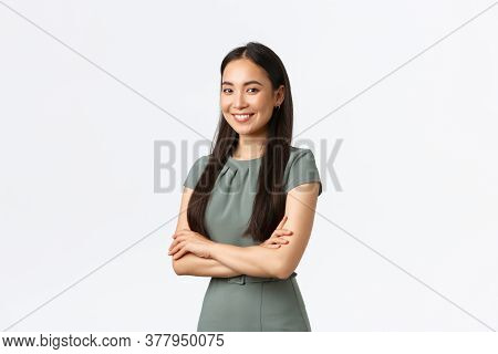 Small Business Owners, Women Entrepreneurs Concept. Successful Confident Asian Businesswoman In Dres