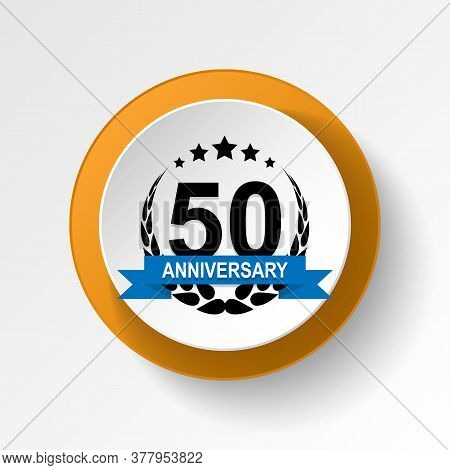 Anniversary, 50 Years Multicolored Icon Button. Can Be Used For Web, Logo, Mobile App, Ui, Ux