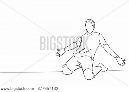 One Continuous Line Drawing Of Young Sporty Soccer Player Spreading His Arms And Sliding Over The Fi