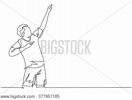 Single Continuous Line Drawing Of Young Male Sporty Football Player Raises His Hands Up To The Sky O