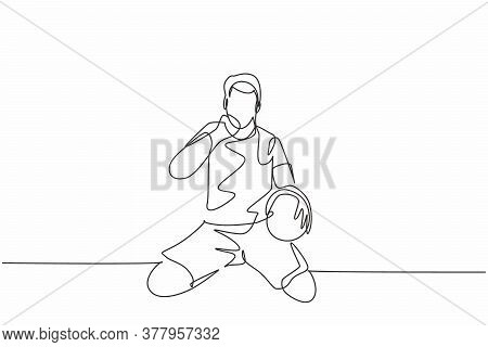 One Continuous Line Drawing Of Young Soccer Player Keeps The Ball On Hand And Punch Fist To The Sky