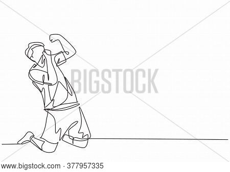 One Single Line Drawing Of Sporty Young Professional Football Player Kissing Club Badge On His Jerse