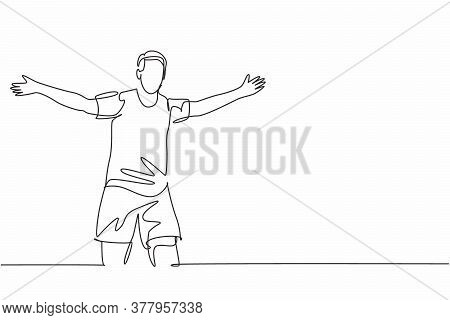 Single Continuous Line Drawing Of Young Sporty Football Player Running Around The Stadium And Spread