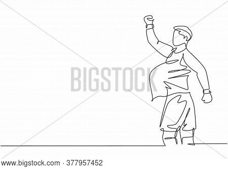 Single Continuous Line Drawing Of Young Sporty Soccer Player Make Pregnant Gesture Using Ball After