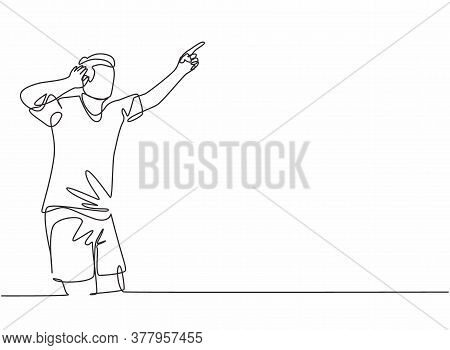 Single Continuous Line Drawing Of Young Sporty Football Player Holding His Ears With Hands On Field