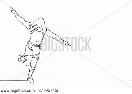 Single Continuous Line Drawing Of Young Sporty Soccer Player Cover His Head With The Jersey And Runn