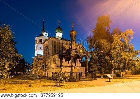 Russia, Irkutsk - June 30, 2020: Spasskaya Church Of Chist The Saviour In The Center Of Irkutsk City