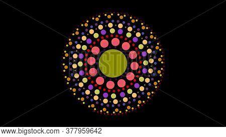 Art Dot Fade Circle And Outside Small Circle Multi Fresh Night Light Tone On Black Isolated