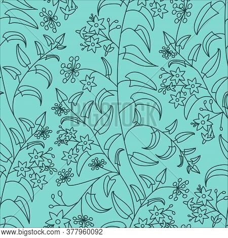 Floral Decorative Pattern. Nightshade. Seamless Pattern Of Dark Contours On A Light Green Background
