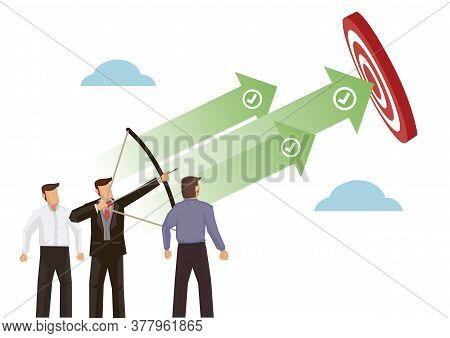 Businessman Archer Aiming At A Target, Achieving The Goal. Concept Of Leadership, Goal Setting And C