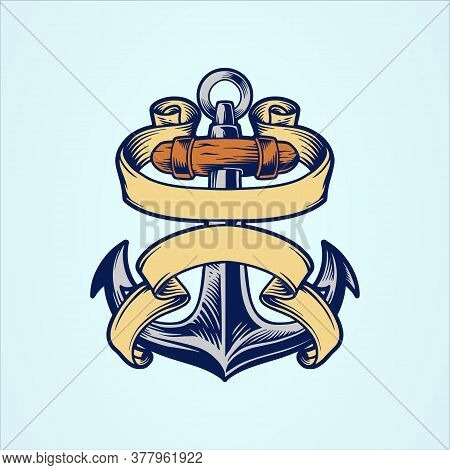 Illustrations Anchor Vector Logo Icon Nautical Maritime Sea Ocean