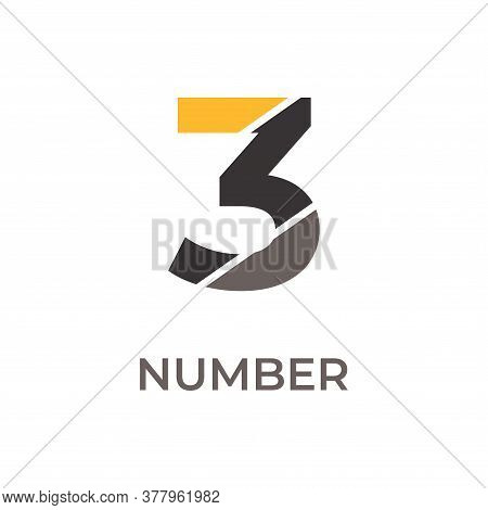 Number 3 Logo Design. Number 3 Vector Illustration. Number 3 Icon Simple Vector Sign And Modern Symb