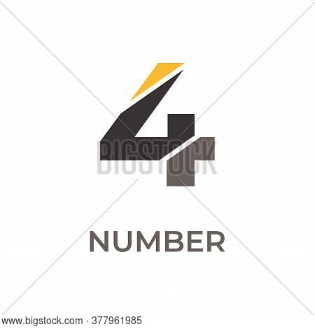 Number 4 Logo Design. Number 4 Vector Illustration. Number 4 Icon Simple Vector Sign And Modern Symb