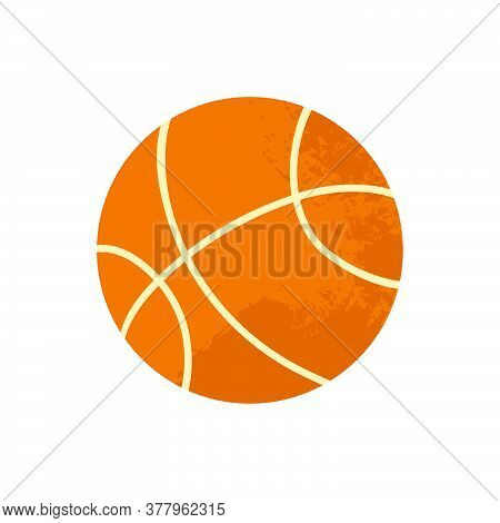 Basketball Ball. Cartoon Vector Illustration With Texture In Flat Design Isolated On A White Backgro