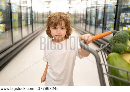 Boy Child With Shopping Trolley With Products. Little Cute Boy With Shopping Cart Full Of Fresh Orga
