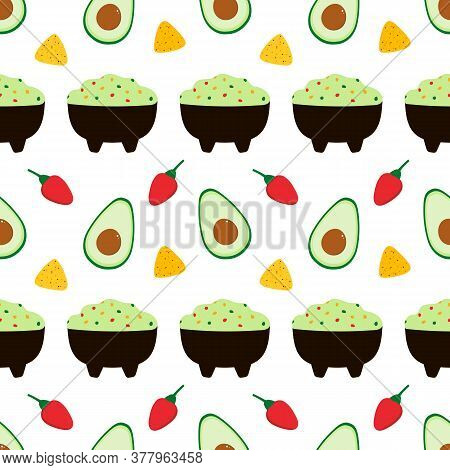 Vector Seamless Pattern Background With Mexican Guacamole Dip, Spread In Bowl With Avocado, Chili Pe