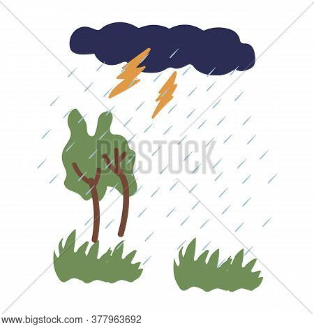 Illustration Of A Thunderstorm With Rain. The Image Shows A Weather Phenomenon, With Lightning And C