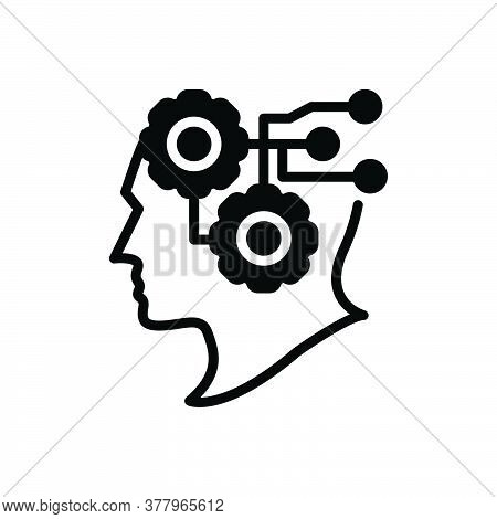 Black Solid Icon For Intelligence Intellect Sence Mind Headpiece Wisdom Brainpower Circuit Digital