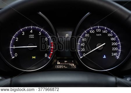 Novosibirsk/ Russia - May 25 2020: Mazda 3, Round Speedometer, Odometer With A Range Of 130 Thousand