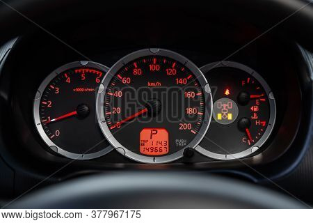 Novosibirsk/ Russia - July 18 2020: Mitsubishi L200, Round Speedometer, Odometer With A Range Of 149