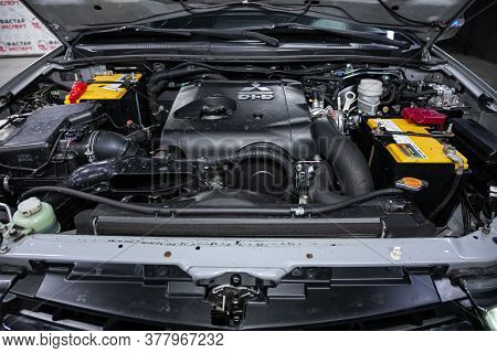 Novosibirsk/ Russia - July 18 2020: Mitsubishi L200, Close Up Detail Of  Car Engine, Front View. Int