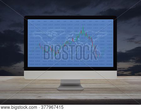 Trading Graph Of Stock Market With World Map And Graph On Modern Computer Monitor Screen On Wooden T
