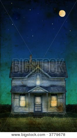 Old Farmhouse On A Grunge Background