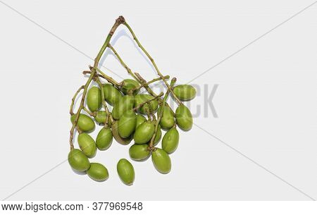 Cluster Of Hog Plum Or Spondias Mombin Isolated On White Background With Copy Space