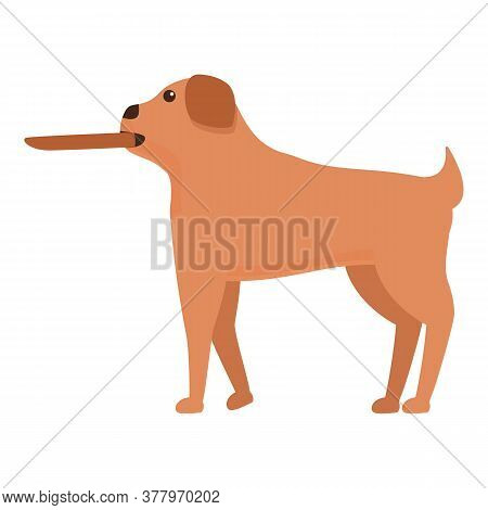 Dog With Wood Stick Icon. Cartoon Of Dog With Wood Stick Vector Icon For Web Design Isolated On Whit