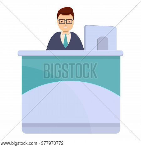Bank Teller With Eyeglasses Icon. Cartoon Of Bank Teller With Eyeglasses Vector Icon For Web Design