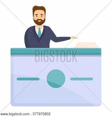 Smiling Hipster Bank Teller Icon. Cartoon Of Smiling Hipster Bank Teller Vector Icon For Web Design