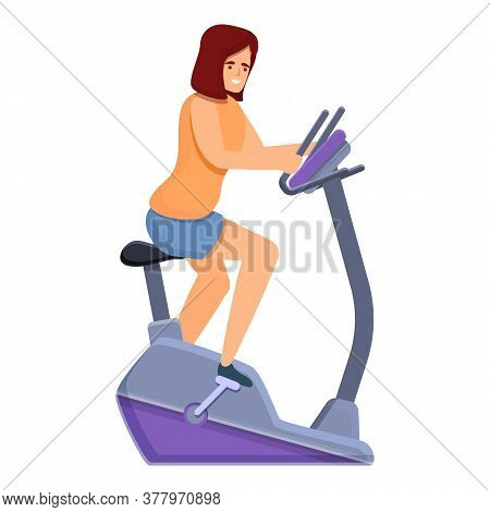 Woman Exercise Bike Icon. Cartoon Of Woman Exercise Bike Vector Icon For Web Design Isolated On Whit