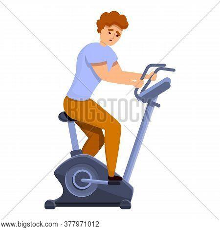 Boy Exercise Bike Icon. Cartoon Of Boy Exercise Bike Vector Icon For Web Design Isolated On White Ba