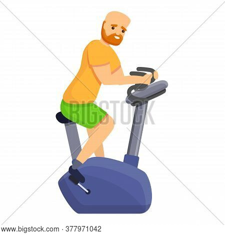 Red Hair Man Exercise Bike Icon. Cartoon Of Red Hair Man Exercise Bike Vector Icon For Web Design Is