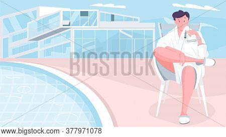 Millionaire House Composition With Flat Doodle Character Of Sitting Man In Dressing Gown With Modern