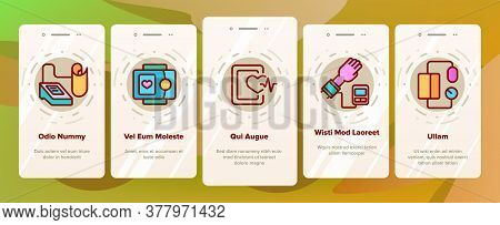 Tonometer Equipment Onboarding Mobile App Page Screen Vector. Tonometer Medical Device For Measuring
