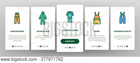 Overalls Worker Protect Clothes Onboarding Mobile App Page Screen Vector. Human Protection Overalls,