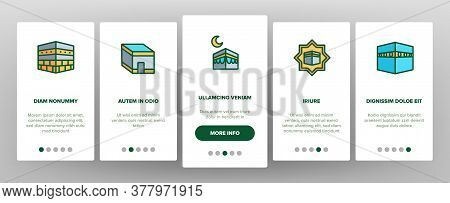 Makkah Islamic Religious Building Onboarding Mobile App Page Screen Vector. Makkah Collection Of Rel