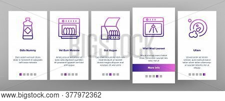 Dishwasher Utensil Onboarding Mobile App Page Screen Vector. Dishwasher Equipment And Cleaning Liqui