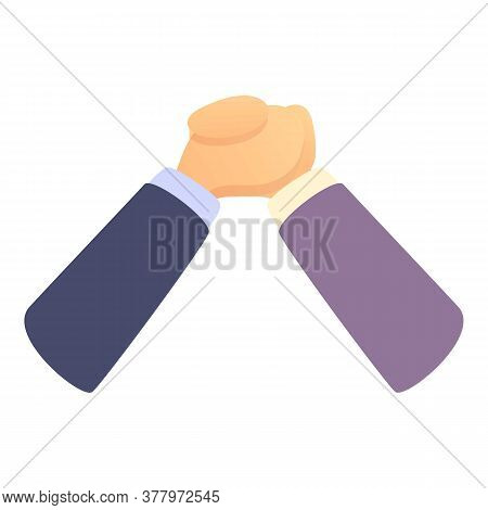 Business Arm Wrestling Icon. Cartoon Of Business Arm Wrestling Vector Icon For Web Design Isolated O