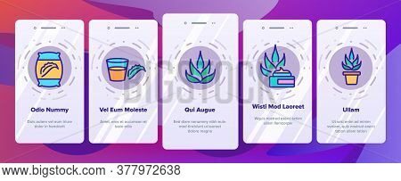 Agave Aloe Vera Plant Onboarding Mobile App Page Screen Vector. Agave Natural Herb For Facial Mask C