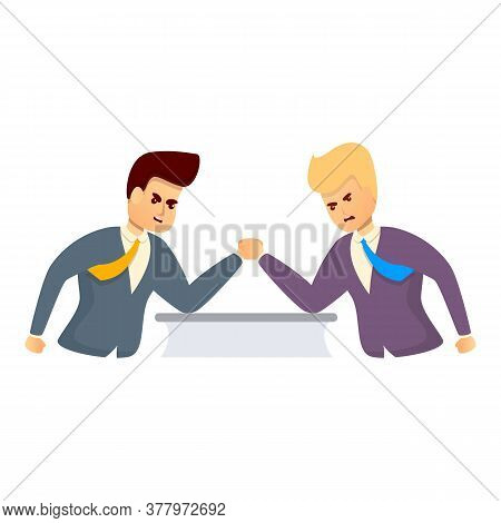 Office Worker Arm Wrestling Icon. Cartoon Of Office Worker Arm Wrestling Vector Icon For Web Design