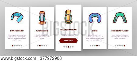 Shoulder Massager Onboarding Mobile App Page Screen Vector. Body And Foot Massager Equipment For Rel
