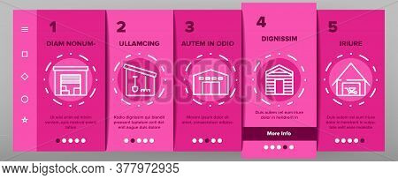 Shed Construction Onboarding Mobile App Page Screen Vector. Shed Building For Storaging Pitchfork An