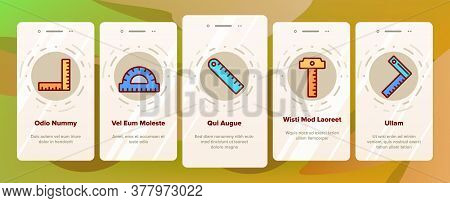Ruler Measuring Tool Onboarding Mobile App Page Screen Vector. Ruler Math, Geometry Stationery Engin